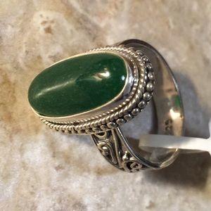 Jewelry - Burmese Green Jade Sterling Silver Ring